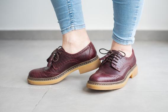 Zapato Abotinado Prüne N° 37 Bordó. Acordonado. Envío Gratis