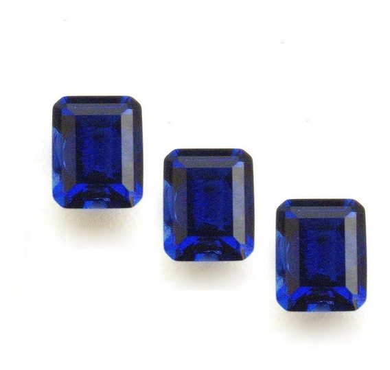 Safira Azul Retângulo 10x8 Mm 3 Pedras 3029bpb