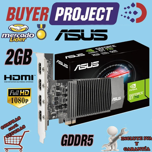 Tarjeta De Video Asus Nvidia Gt710 2gb 4 Puertos Hdmi Ddr5