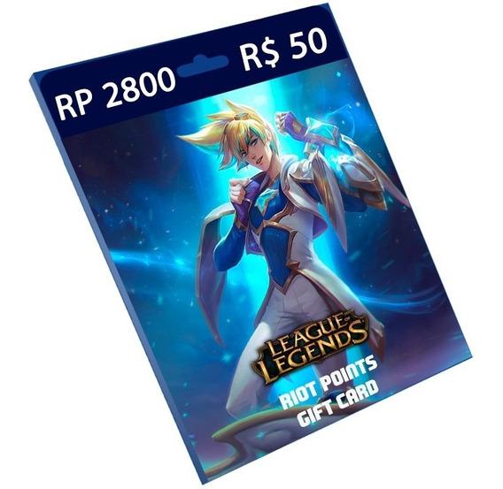 Cartão League Of Legends 2.800 Riot Points Rp