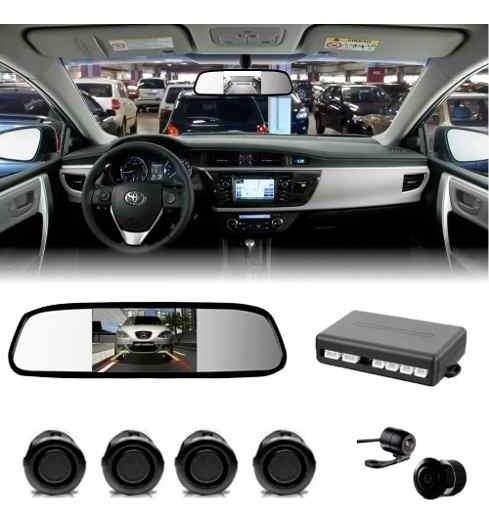 Kit Sensor De Estacionamento Câmera De Ré + Espelho Lcd