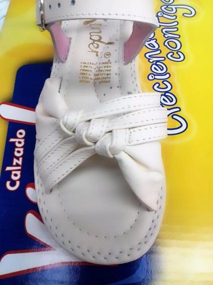 Huaraches Marca Kinder Para Niña 6063 Hueso 21.5 Al 23