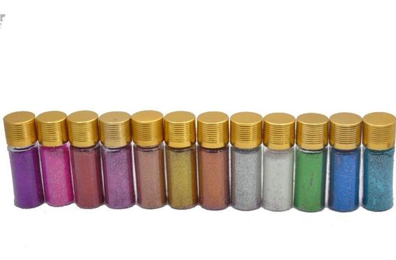 Kit 12 Purpurina Glitter Colorida Corpo Unhas Brilho Intenso