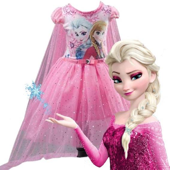 Vestido Elsa Frozen Rosa Vestidos Com O Melhores Preços No