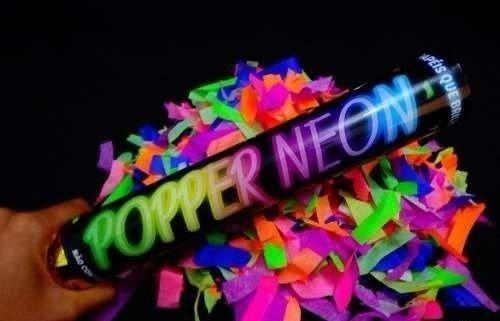 Lança Confete Popper Neon Luz Negra Baladas Festas 40 Cm