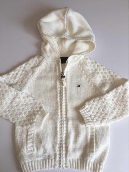 Blusa De Linha Frio Branca Tommy Hilfiger 2 Anos Capuz Touca
