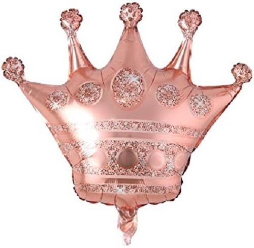 Globo Metalizado Corona Reina Gold Rose Rosa Grande