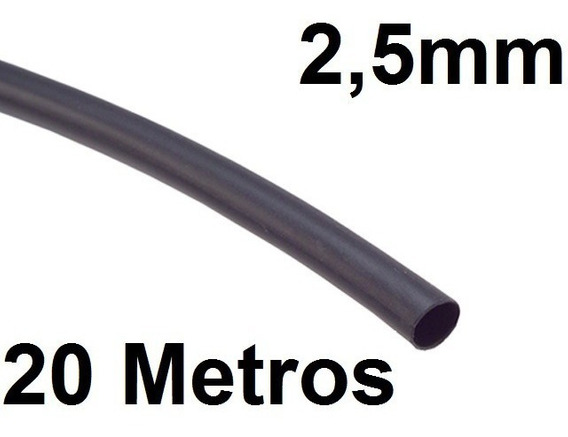 Espaguete/tubo Termo Retrátil Isolamento 2,5mm Preto 20 Mts