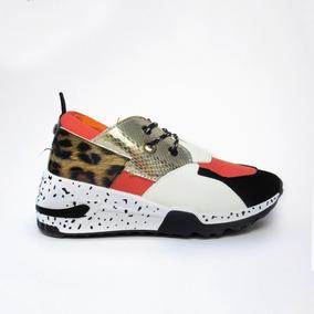Tenis Color Naranja Print Leopardo Alto Mujer