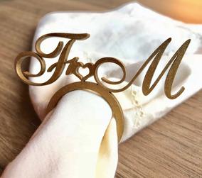 170 Anel Porta Guardanapo Dourado Em Mdf Casamento