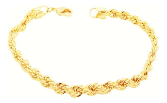 Pulseira Feminina Masculina Cordão Baiano 18cm Folheada Ouro