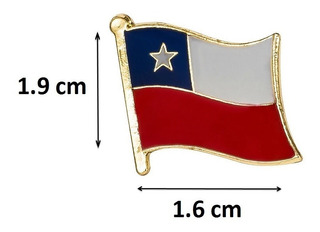 Pin Piochas, Botones, Bandera Chile Pack 10x