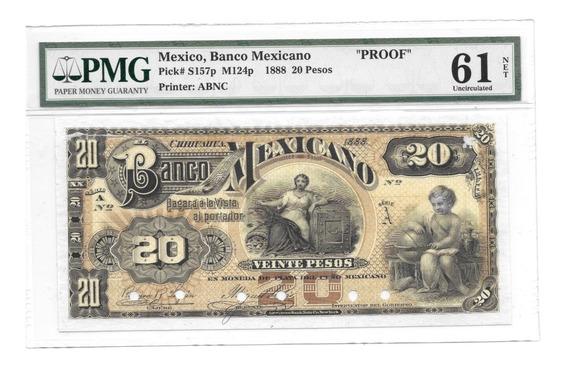 Billete Proof $20 Pesos, Banco Mexicano . Chihuahua 1888