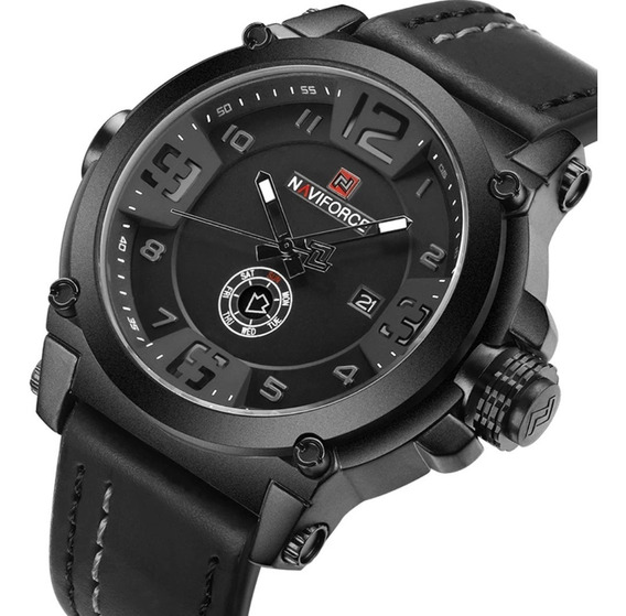 Relógio Masculino Naviforce 9099 Pulseira Couro Original