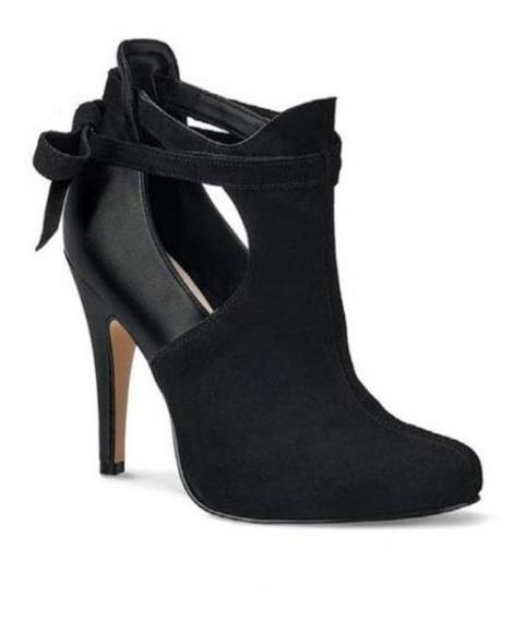 Zapato Negro,tipo Botin,piel Gamuzatacon Alto Delgado,andrea