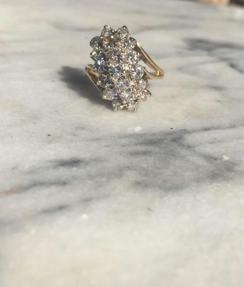 Anillo De Oro 14k Y Diamantes! Digno De Una Reina!
