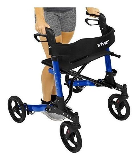 Andador Caminador Plegable Con Ruedas Asiento Bolsa Azul