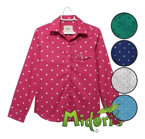 Camisa*blusa Feminina Hollister Bolinhas Poa -pronta Entrega
