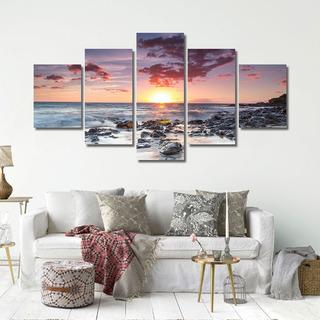 Sol Poniente Vista Al Mar Pintura Al Óleo 5 Piezas