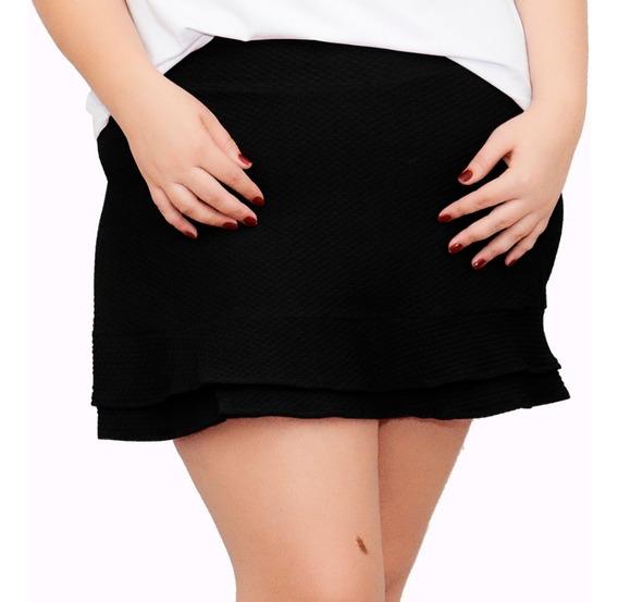 Short Saia Feminino Plus Size Com Forro Cintura Alta