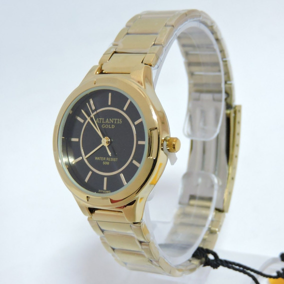 Relógio Masculino Dourado Atlantis W3171 Original