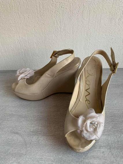 Zapatos Dione Novia Talla 23 Color Perla