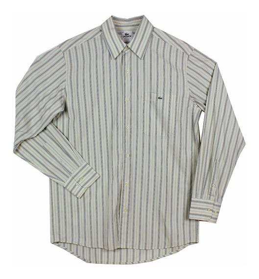 Camisa Lacoste Crema A Rayas Talla 40