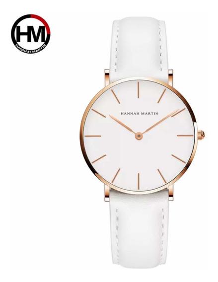 Relógio Feminino Luxo Hannah Martin Pulseira Em Couro Banco