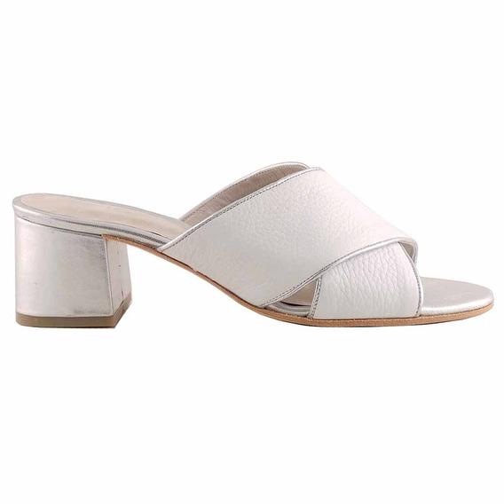 Zueco Zapato Mujer Cuero Briganti Taco Medio - Mcsu48024