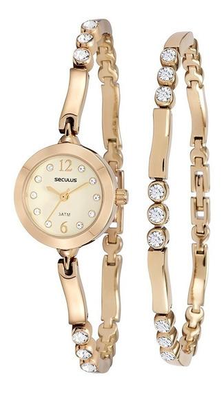 Relógio Seculus Feminino Original 20454lpskdb1k1