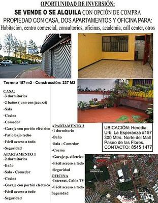 Terreno Muy Barato De Casa Y Dos Apartamentos En Heredia