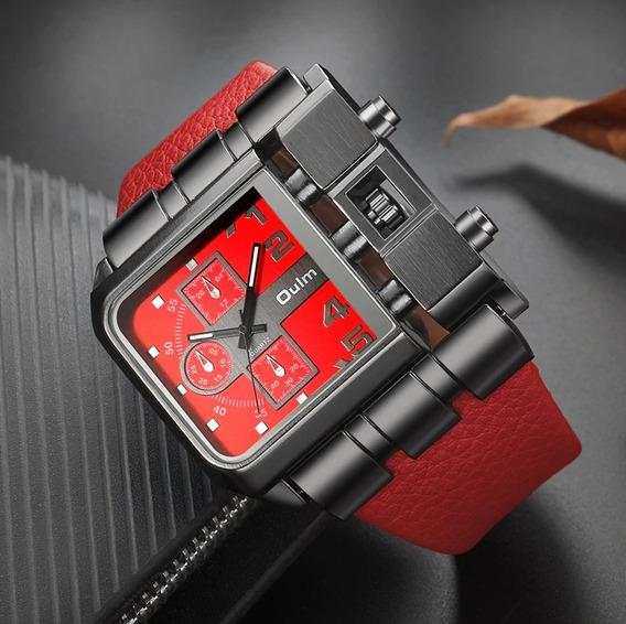 Relógio Masculino Couro Vermelho Social Importado Rustico !!