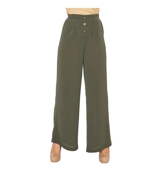 Pantalón Casual/formal Amplio Olivo Con Botones Para Mujer
