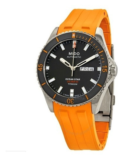 Relógio Automático Mido Ocean Star Titânio Cinza/laranja