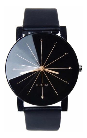 Relógio Quartz Pulseira Couro Preto Luxo