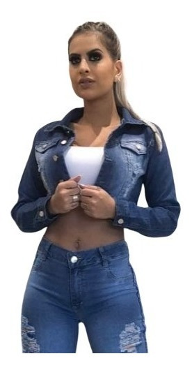 Jaqueta Jeans Feminina Curta Com Lycra