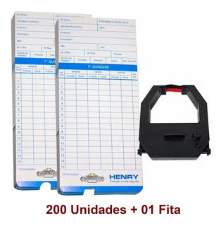 Cartao De Ponto Relogio Henry Vega C/ 200 Unidades + 01 Fita