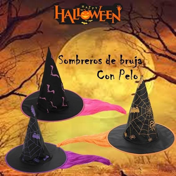 Sombrero De Bruja Con Pelo X 10u - Halloween Cotillon