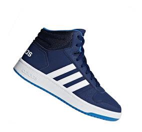 Tênis adidas Infantil Botinha Hoops Mid Azul F35101 Original