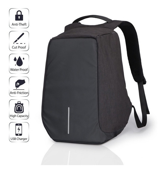 Mochila Anti Furto Roubo Laptop Usb Pronta Entrega