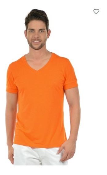Kit 5 Camisetas Masculinas Decote V Maior 21806 Poliéster