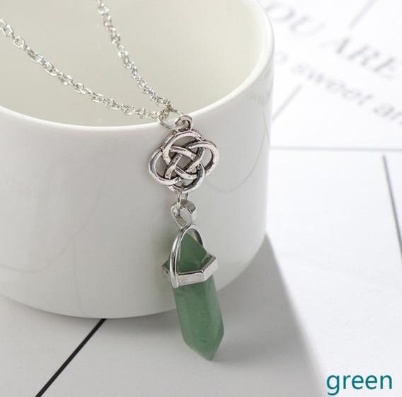 Colar Pedra Natural Pêndulo Quartzo Verde Flor De Lotus
