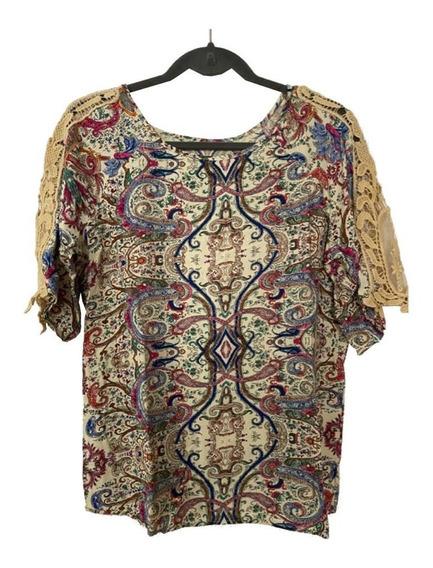 Blusa Camisola Combinada Beige Y Arabescos Encaje Sin Logo