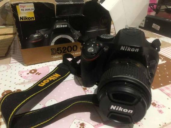Câmera Nikon 5200 3mil Cliques Profissional Caixa 2 Baterias