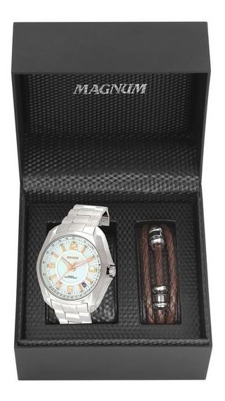 Relógio Magnum Masculino Ref: Ma32041d Prateado + Pulseira