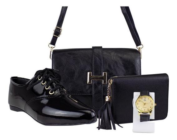 Kit Oxford Bico Fino + Bolsa + Carteira + Relógio Dourado