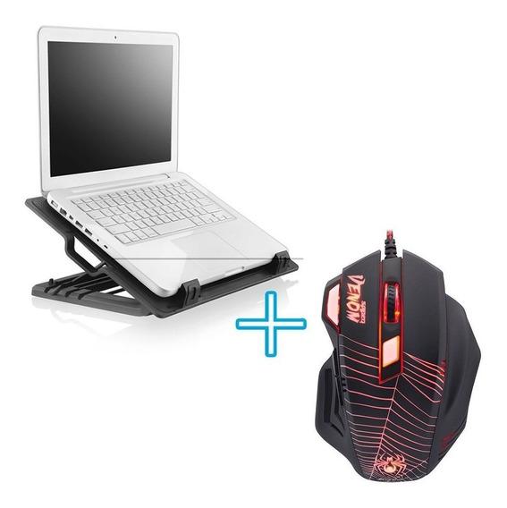 Kit Gamer Notebook Barato Mouse Com Fio Led + Suporte Cooler