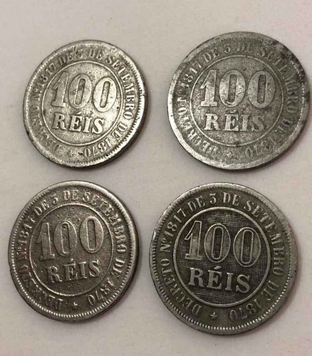 Moedas 100 Réis 1882 / 1884 / 1885 / 1889 Império Brasil