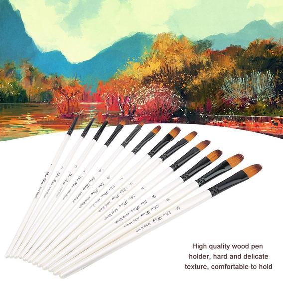 12pcs Dibujo Cepillo Pluma Set Arte Aguada Agua Color Aceite