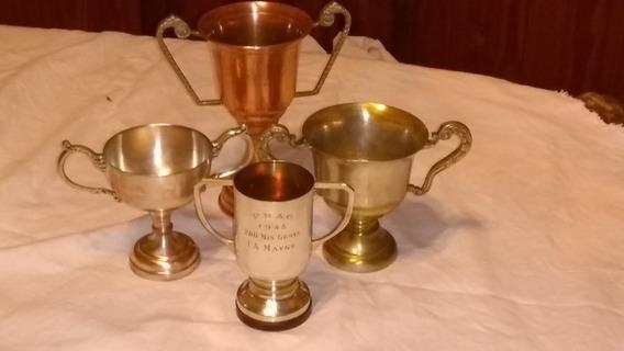 Lote Antiguos Trofeos Copas Metal Cobre Colección